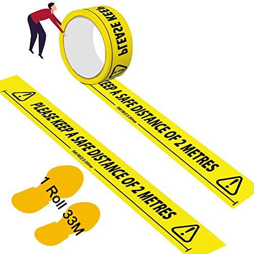 Cinta de seguridad, cinta adhesiva para favor, Please Keep A Safe Distance of 2 Metres cinta de advertencia 48 mm x 33 m, cinta adhesiva de marca negra y amarilla para el suelo