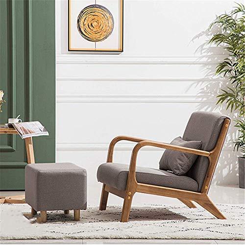 FEE-ZC Massivholz mit Stoff bezogen Moderner Mid-Century Sessel aus Holz, handpoliert, elegant und natrlich, Schlafzimmer, Wohnzimmer, Balkon