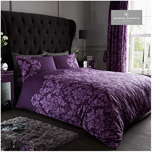 Gaveno Cavailia Luxurious Empire Damask Bed Set with Duvet Cover and Pillow Cases, Polyester-Cotton, Purple, King