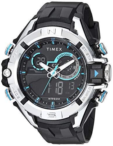 Relógio masculino Timex Guard DGTL Bold com pulseira de resina, Preto/Prateado/Azul