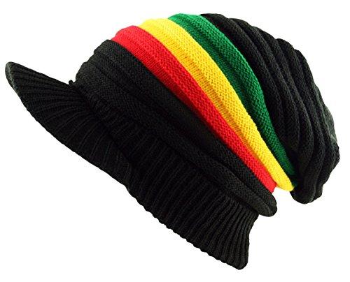 UD Accessories Bonnet rasta avec visière, noir, très large, avachi