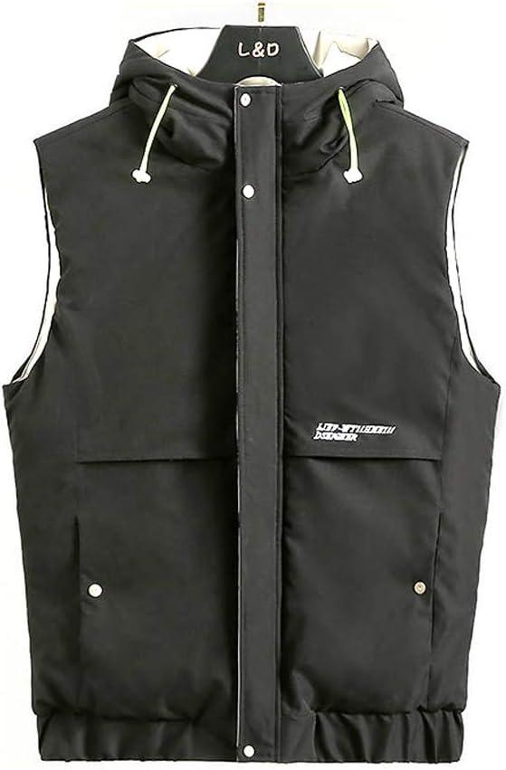 HXR Autumn and Winter Men's Hooded Casual Down Cotton Vest Vests (Color : A, Size : XXL)