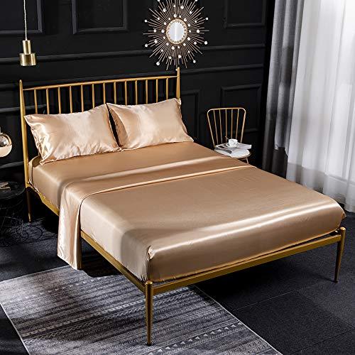 Juego de sábanas de seda de satén crema de 4 piezas con sábana bajera de satén, sábana encimera, funda de almohada transpirable, suave y cómodo, juego de ropa de cama tamaño superking