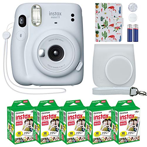 Fujifilm Instax Mini 11 Instant Camera Ice White Compatible Custom Case + Fuji Instax Film Value Pack (50 Sheets) Flamingo Designer Photo Album for Fuji instax Mini 11 Photos