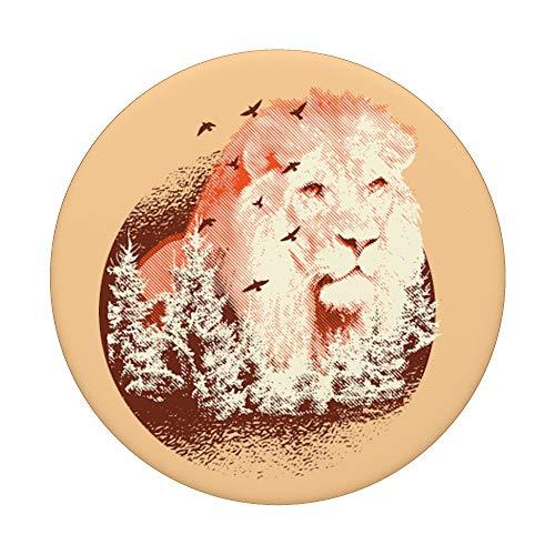 Löwe Natur Wald Art - PopSockets Ausziehbarer Sockel und Griff für Smartphones und Tablets