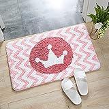 IcosaMro Pink Bathroom Rugs Non Slip Bath Rug Mat Washable Microfiber Terry Water Absorbent Farmhouse Floor Mat for Boys Girls Kids, Cute Rabbit, 16x24 Inches