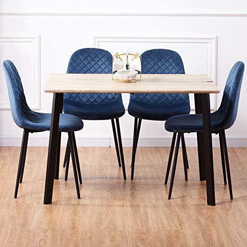 GOLDFAN Esstisch Hellbraun mit 4 Blau Stühlen Essgrupp Holztisch und Stuhl Esstisch Set für Wohnzimmer Küche usw 110cm