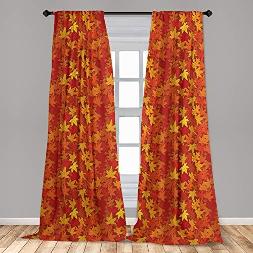 "Ambesonne Orange Curtains, Colorful Autumn Fall Season Maple Leaves in Unusual Designs Nature Print, Window Treatments 2 Panel Set for Living Room Bedroom Decor, 56"" x 84"", Burnt Orange"
