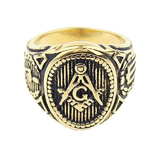 Mens Boys Freemason Gold Tone Free Mason Anillo Masónico De Acero Inoxidable 316L13