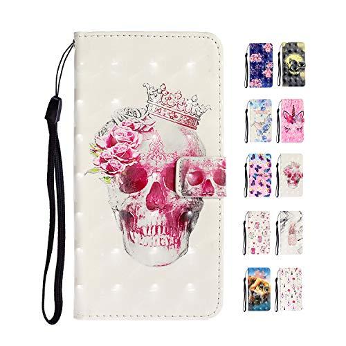 E-Panda Custodia Cover Samsung Galaxy S6 Edge Teschio Queen Elegante Kawaii Belle 3D Disegni PU Pelle Flip Caso Portafoglio + TPU Ultra Slim Silicone Morbido Gel Bumper 360 Gradi Antiurto
