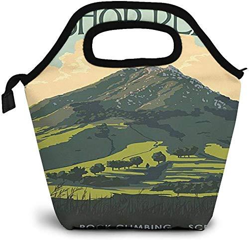 Bishop Peak California Poster da viaggio vintage Borsa da pranzo isolata Borsa per bento personalizzata Picnic Cooler Borsa portatile Borsa da pranzo per donna Ragazza Uomo Ragazzo