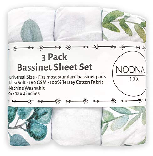 NODNAL CO. Leafy Bassinet Fitted Sheet Set 3 Pack 100% Jersey Cotton for Baby Girl/Boy - Gender Neutral Leafs, Greenery, Floral Eucalyptus 160 GSM Sheets
