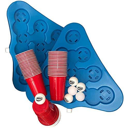 Bierpong Becher Set - Mit dem Rack Set + 50 Original 16 Oz. Red Cups & 6 Ping Pong Bällen zum Bierpong Spielen für unterwegs, der gekühlte Beerpong Cupholder - Original MBP MyBeerpong® Stuff