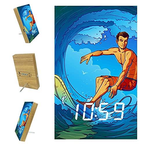 Yumansis Reloj de Escritorio Digital LED Hombre de Surf Reloj Despertador de Escritorio con Pantalla de Tiempo LED electrónico para Sala de Estar en casa de Oficina 3.8In