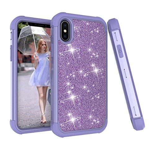 UZER Capa para iPhone Xs Max, três camadas à prova de choque, glitter, diamante, policarbonato rígido, silicone macio, híbrido, estilo defensor, brilhante, capa protetora de corpo inteiro para iPhone Xs Max 6,5 polegadas 2018