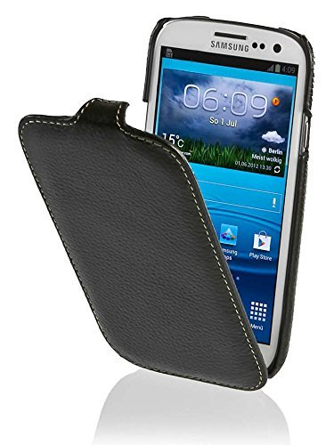 StilGut UltraSlim Hülle, Tasche aus echtem Leder für Samsung Galaxy S3, Schwarz
