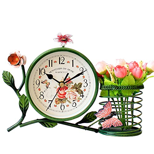 S.W.H Style de Jardin Européen Horloge de Table Ovale Fer Rustique Petite Horloge de Bureau avec des Fleurs