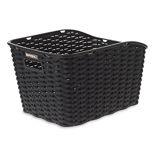 Basil Weave WP Synthetic Woven Rear Bicycle Basket - Black