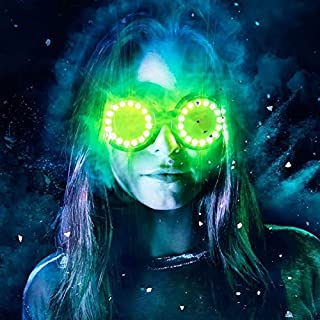GloFX LED Pixel Pro Goggles [350+ Epic Modes] - Programmable Rechargeable Light Up EDM Festival Rave Party Sunglasses