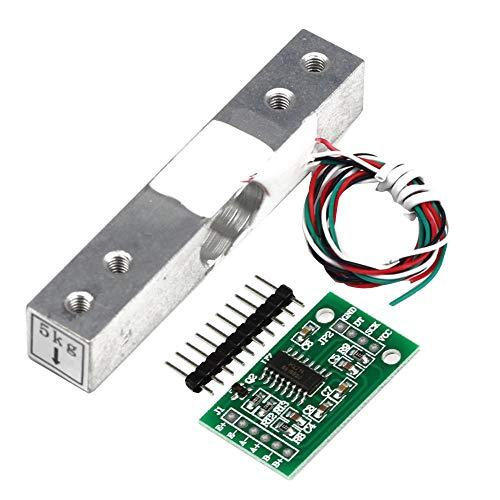 ZHITING Sensor de Peso de celda de Carga de 5 kg + Módulo de pesaje HX711 Sensor de presión del módulo A/d para báscula Arduino