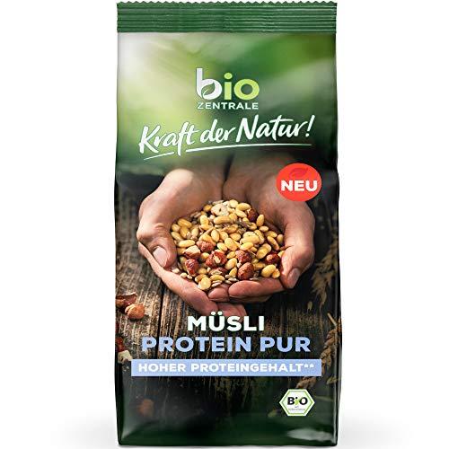 biozentrale Müsli Protein Pur | 375g Protein Müsli Bio | Ideal vorm Sport, als Früshstück und als Müsli to go | Alternative zum Proteinriegel