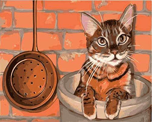 QIAOYUE Malen nach Zahlen für Katze im Schornstein für Erwachsene und Kinder malen Wohnzimmer Schlafzimmer Küche Dekoration Leinwand 40X50CM Rahmenlos