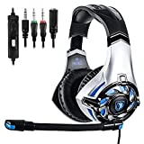 SADES SA822T Gaming Headset for PS4, Xbox One, PC(Second Generation) Soft Earmuffs Over-Ear Headphones LED Light with Noice Cancelling Microphone