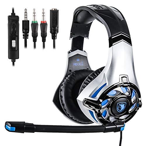SADES Casque de jeu pour Xbox One PC 7.1 canal virtuel USB Surround stéréo avec micro révolution contrôle du volume et bruit Argenté/bleu
