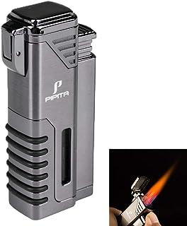 PIPITA Mechero Resistente al Viento 4 Rojo Llamas Gas Butano Recargable Encendedor de cigarros Linterna Jet Flame Turbo Encendedors (Vendido sin Gas)