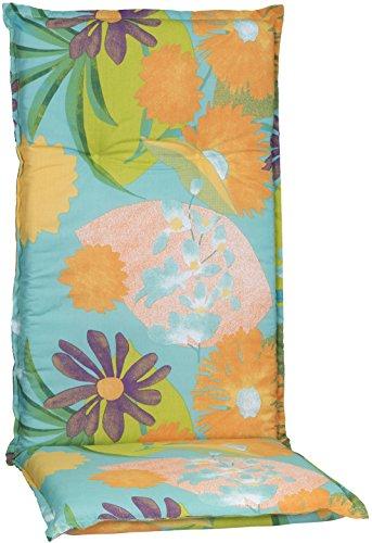 Beo Gartenstuhlauflage Polster Aquarell Blumenmotiv M701 für Hochlehner orange, türkis, rosé und grün