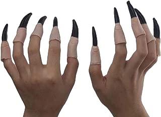 Ujamoat - ハロウィーン怖い小道具スケルトン手袋骨ウィッチハットネイルズハットテロ動物提灯ブラッディメイクハロウィーンのデコレーション[魔女ネイル]