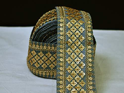 Paillettes grigio bordo sari artigianato sari vendita all'ingrosso da 9 iarde borsa da spiaggia cuscino coperture passamaneria abiti decorati nastro ricamato costume cucito decorazione Trim