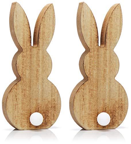 COM-FOUR® 2x decoratiefiguur stralend konijn, paashaas met LED-lamp als bobbel, schattig konijn gloeit in het donker als nachtlampje (02 stuks - LED konijn)