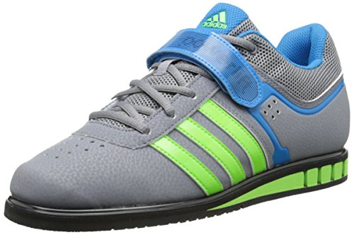 adidas Men's Powerlift.2-M, Grey/Neon Green/Solar Blue, 7.5 M US