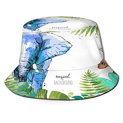 Tropical Leaf Elephant and Giraffe Unisex Casual Bucket Sun Hat Fisherman Cap for Fishing Hiking Camping