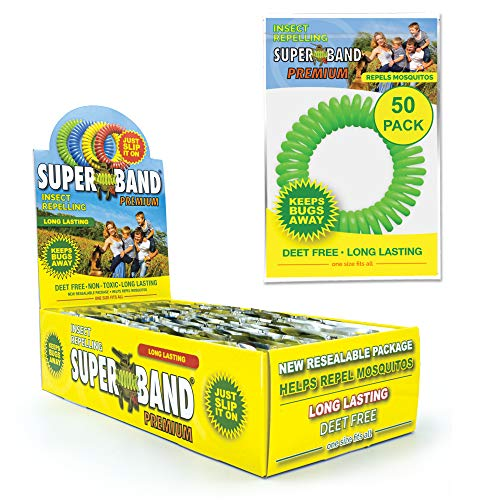 SUPERBAND Premium Mosquito Repellent Bracelet (50 Pack) - Natural Insect & Bug Repellent Band - DEET Free & Waterproof - For Kids & Adults - Individually Wrapped - One Size Fits All (Pack of 50)