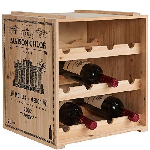 Butlers Vinothek Weinregal 36x32x39 in Natur - Hochwertiges Flaschenregal aus Holz - Alternatives Holzregal, Weinständer