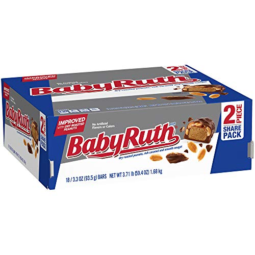 Baby Ruth Milk Chocolate Candy Bars, Bulk Ferrero Share Pack Candy, 3.3 Ounce (Pack of 18)