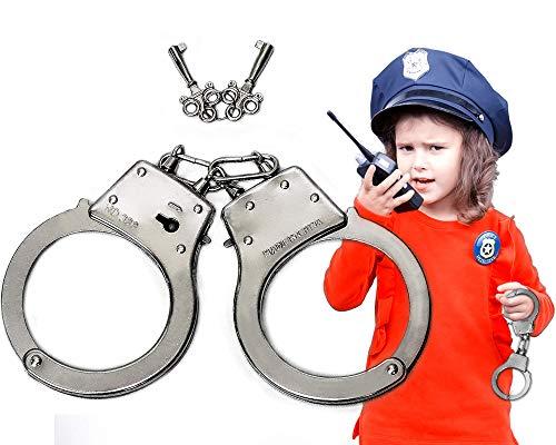Trendario Handschellen Kinder aus Metall, Polizei Spielzeug inklusive Schlüssel, ideal für das Polizeikostüm