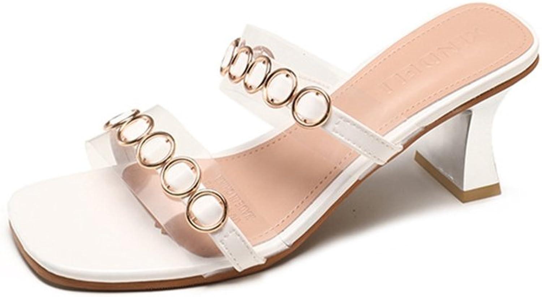 T-JULY Ladies Fashion Metallic Round Buckle String Pumps Chunky Heel Transparent PU Slide Sandals Slip On Dressy Sandals