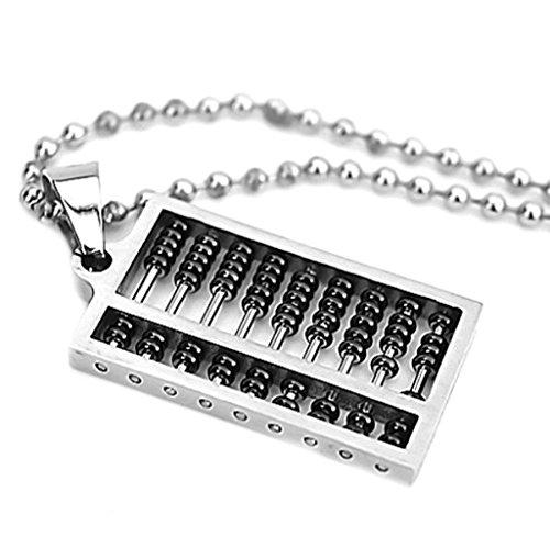 Epinki Herren Halskette, Edelstahl Herrenhalskette Anhänger Rechenbrett Schwarz Beads 3.3 * 1.8cm Kettenanhänger Statementkette
