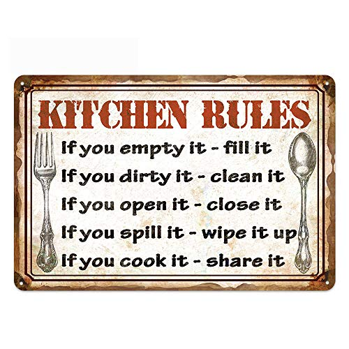 Original Retro Design Kitchen Rules Tin Metal Wall Art Signs, Thick Tinplate Wall Decoration Print Poster for Kitchen…