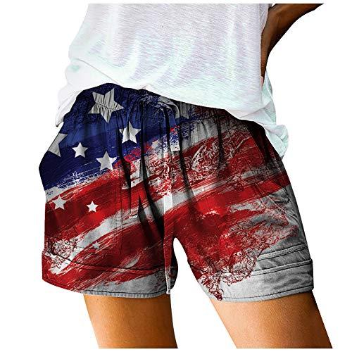 ღLILICATღ Pantalones Cortos De Vendaje Estampados Informales para Mujer Pantalones Sueltos De Cintura EláStica con Bolsillos Pantalones Cortos De Talla Grande para Vacaciones De Verano para Mujer