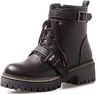 Veveca Women Round Toe Side Zip Ankle Boots Ladies Leather Combat Booties Winter Motorcycle Boots Platform Martin Boots