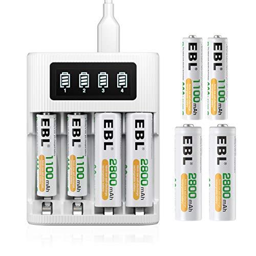 EBL LCD Chargeur de Piles Rapide- avec 4PCS AA 2800mAh et 4PCS AAA 1100mAh Piles Rechargeables NI-MH, LCD Chargeur Rapide par Micro USB avec Écran LCD Intelligent et 4 Slots Indépendants