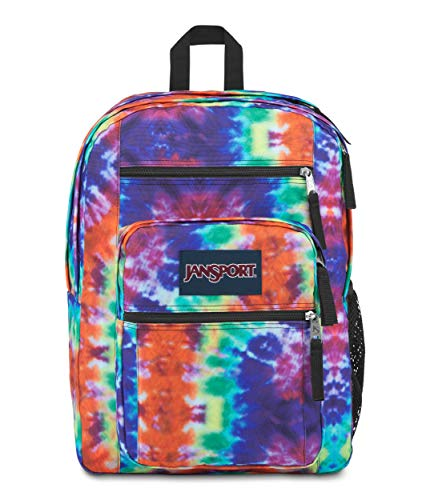 JanSport JS0A47JK Big Student Backpack - 15-inch Laptop School Pack, Red Hippie Days