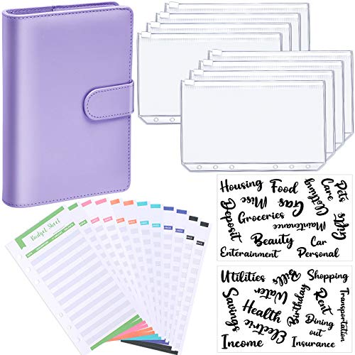 PU Leather Notebook Binder Budget Planner Organizer 6 Ring Binder Cover, 8 Pieces Binder Pockets, 12 Pieces Expense Budget Sheets and 26 Categories Letter Sticker Label (Purple,Small,Cursive)