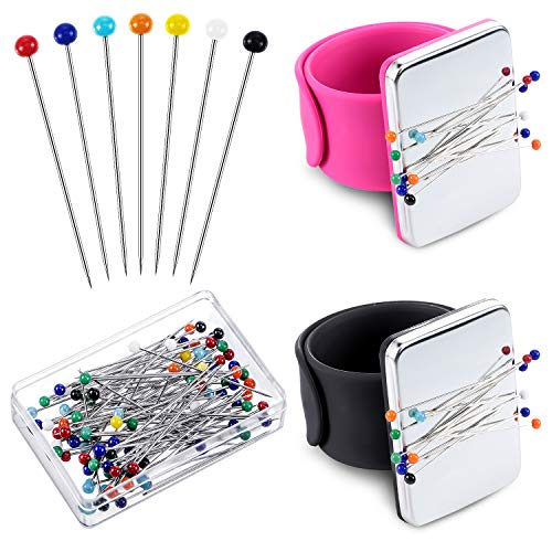 2 Pieces Magnetic Sewing Pincushion Wrist Magnetic Pin Holder with 100 Pieces Colorful Sewing Pins Glass Headed Pins for Quilting Sewing Embroidery Supplies (Black, Rose Red)