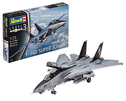 Revell Modellbausatz Flugzeug 1:72 - Grumman F-14D Super Tomcat im Maßstab 1:72, Level 3, originalgetreue Nachbildung mit vielen Details, 03960