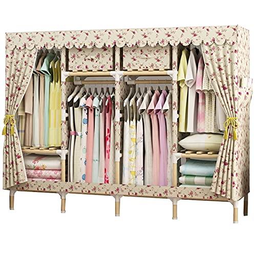 LICHUAN Armario Oxford portátil para colgar ropa, armario de madera maciza, doble armario plegable, armario de almacenamiento de ropa, ahorra espacio (color: multicolor)